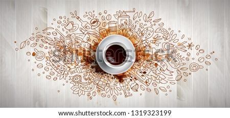 Coffee concept on wooden background - white coffee cup, top view with doodle illustration about coffee, beans, morning, espresso in cafe, breakfast. Morning coffee vector illustration with cofe