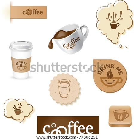 coffee cup and beans symbols buttons and stickers
