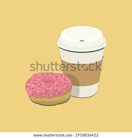 Coffee cup and donut with sprinkles.