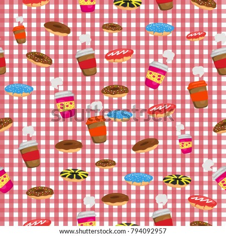 Coffee cup and donuts or doughnut on red table cloth background seamless pattern