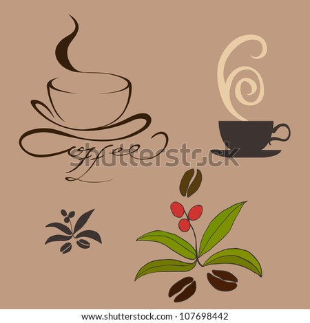 coffee, cup, bean. vector illustration
