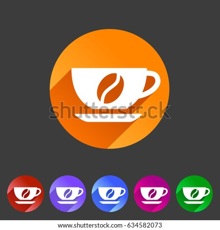 Coffee cup coffee bean icon flat web sign symbol logo label set