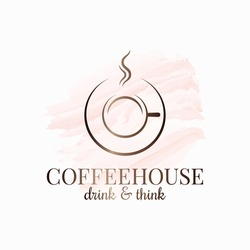 Coffee cup design. Coffeehouse watercolor logo on white background