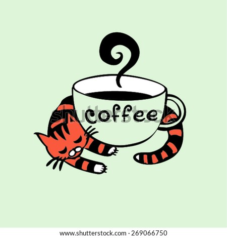 coffee cup icon  cat and