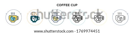 coffee cup icon in filled  thin