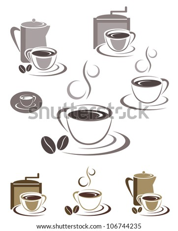 Coffee cup icons and emblems design set