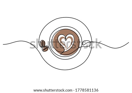 Coffee cup in continuous line art drawing style. Top view of cappuccino drink with heart shaped latte art and coffee beans on the saucer.  Vector illustration