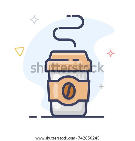 Coffee cup line art illustration.  Disposable Paper Coffee Cup vector icon . Plastic coffee cup with lid.