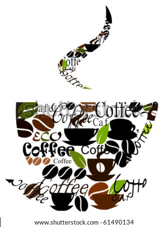 Coffee cup logo made of various captions, cups and beans. Vector illustration