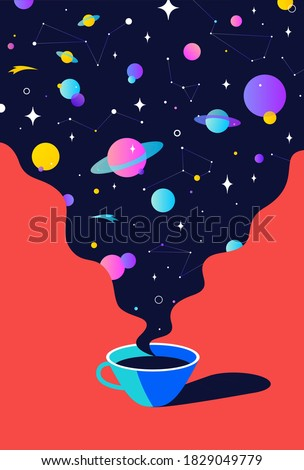 Coffee. Cup of coffee with universe dreams, planet, stars, cosmos. Modern flat illustration. Banner for cafe, restaurant, menu, coffee dreams theme. Color contemporary art style. Vector Illustration