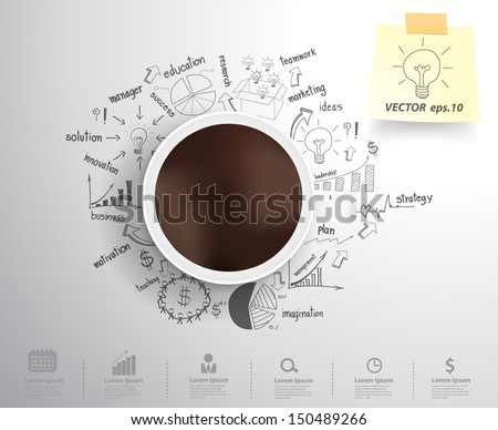 Coffee cup on drawing business strategy plan concept idea, Workflow layout, diagram, step up options, Vector illustration modern template design