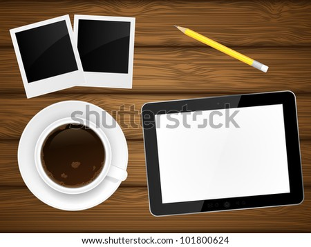 Coffee cup, photo frame and tablet pc on wooden background. Vector illustration.