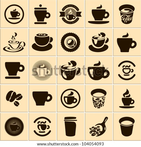 Coffee cup set. Tea cup. Vector icon collection. - stock vector