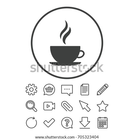 Coffee cup sign icon. Hot coffee button. Hot tea drink with steam. Document, Chat and Paper clip line signs. Question, Pencil and Calendar line icons. Star, Download and Shopping cart. Vector