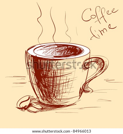 Coffee cup sketch vector illustration