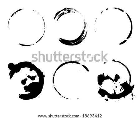 Coffee cup stains - stock vector