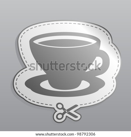 coffee cup sticker icon illustration
