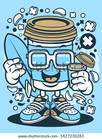 Coffee Cup Surfer Cartoon Character #1427230283