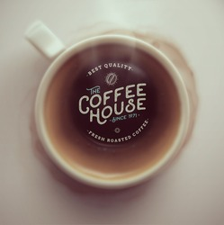 Coffee cup, top view, coffee house, eps 10