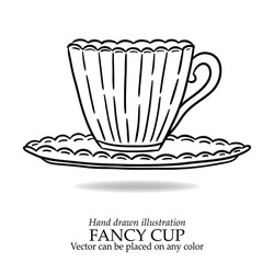 coffee cup vector illustration or cup of tea, fancy antique cup on plate, hand drawn mug or beverage set design