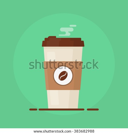 Shutterstock Coffee cup vector illustration.  Paper ?offee cup icon isolated on background. Plastic coffee cup with hot coffee in flat style. Coffee cup beans.