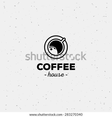 Coffee cup vector logo design template. Vector coffee shop labels.