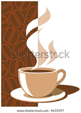 Coffee cup with coffee beans, vector