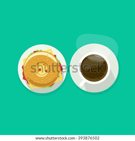 coffee cup with donut sandwich