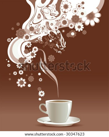 Coffee cup with floral pattern.  All elements and textures are individual objects. Vector illustration scale to any size - stock vector