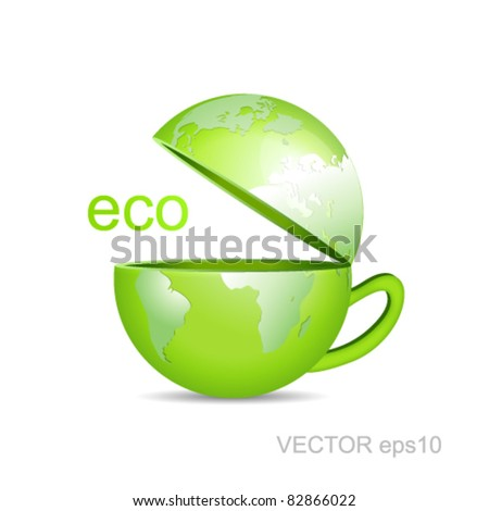 Coffee cup with lid in shape of a green business globe against white background - eco world map design