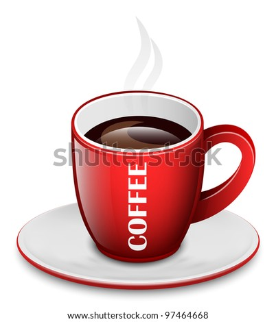 Coffee Cup with Saucer. Vector Icon