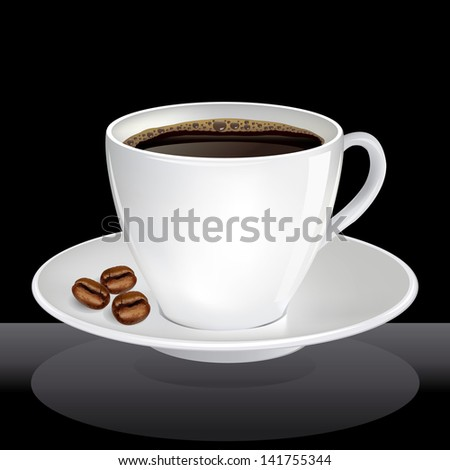 coffee cup with shadow over black background. vector illustration