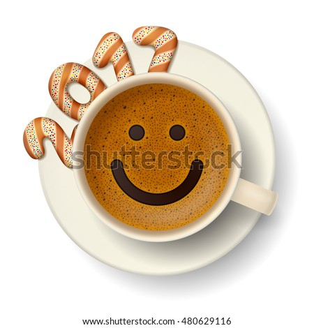 coffee cup with smiling face on
