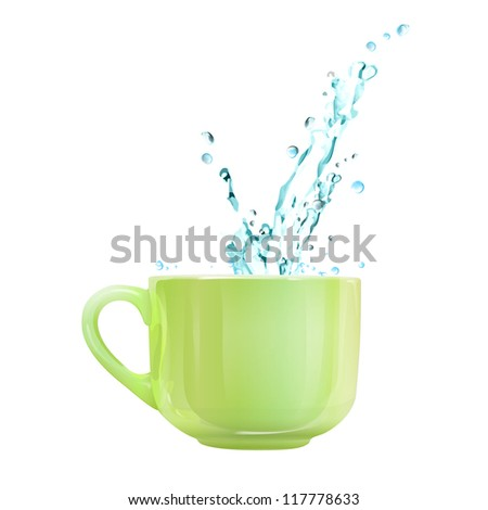 Coffee cup with water splashing. Vector design.