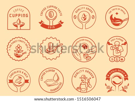 coffee cupping logo badge design with man sib coffee,spoon of coffee,tongue tasting coffee drop and  local farmmer with spoon vector illustration. Stok fotoğraf ©