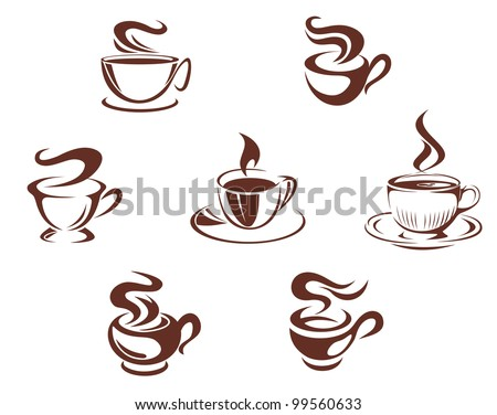 Coffee cups and mugs symbols isolated on white background, such  a logo. Jpeg version also available in gallery