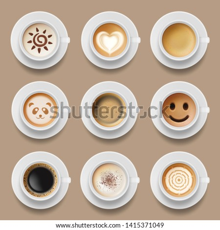 Coffee cups. Cappuccino latte americano top view of realistic hot morning drinks vector illustrations. Cappuccino and latte top view, beverage drink morning