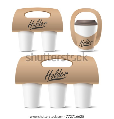 coffee cups holder set  vector