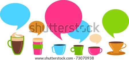 Coffee cups with colorful speech bubbles