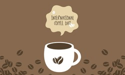 Coffee Day greeting card or background. vector illustration. Best design