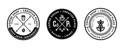 coffee design template for logo, badge, emblem and other