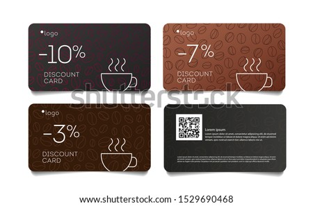 Coffee discount coupon voucher cards with line coffee beans pattern and cup, set of cards front and back