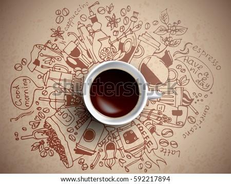 coffee doodle concept   sketch...