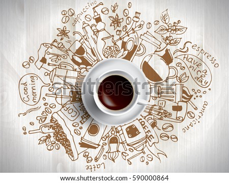 Coffee doodle concept - sketch illustration about coffee time. Vector coffee background with doodle sketch illustration of cafe beans, beverage details - cup, pot, glass, cinnamon, syrup for Cafe menu