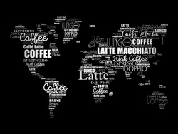 Coffee drinks word cloud in shape of World Map, concept background