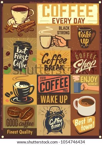 Coffee emblems. Vintage design poster. Vector illustration