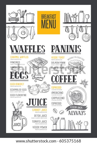 Coffee food menu for restaurant and cafe. Design template with hand-drawn graphic elements in doodle style.