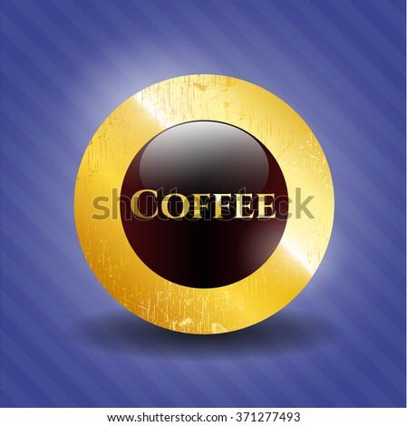 Coffee golden emblem or badge