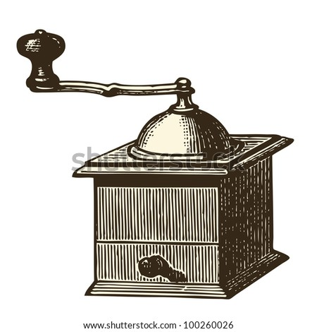 Coffee grinder - vintage engraved illustration - Catalog of a French department store - Paris 1909