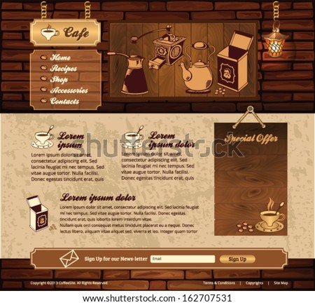 coffee grunge retro web site